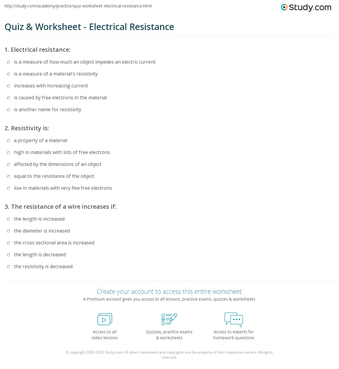 Tremendous Quiz Worksheet Electrical Resistance Study Com Wiring Cloud Hisonuggs Outletorg