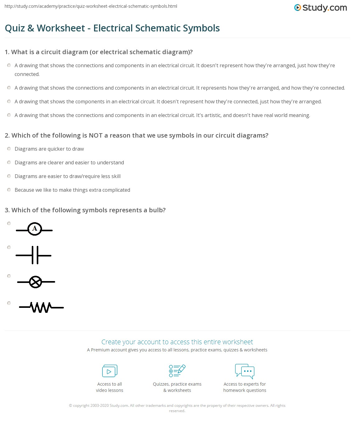 Quiz Worksheet Electrical Schematic Symbols Basic Wiring Diagrams Legend Print