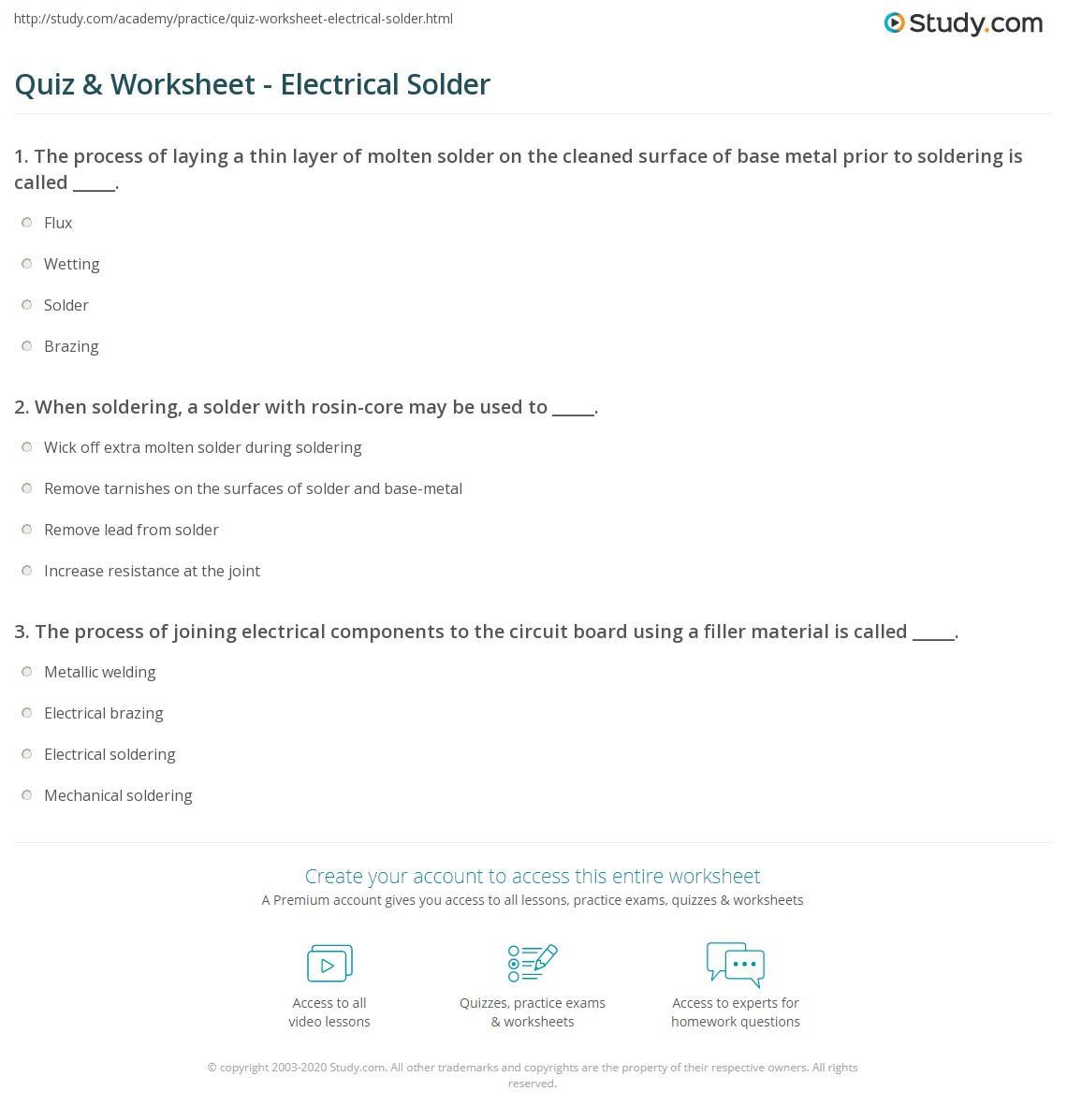Quiz & Worksheet - Electrical Solder | Study.com