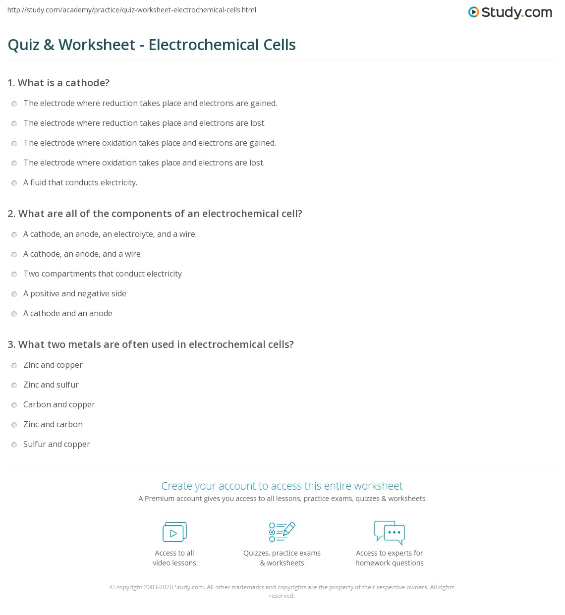 quiz worksheet electrochemical cells. Black Bedroom Furniture Sets. Home Design Ideas