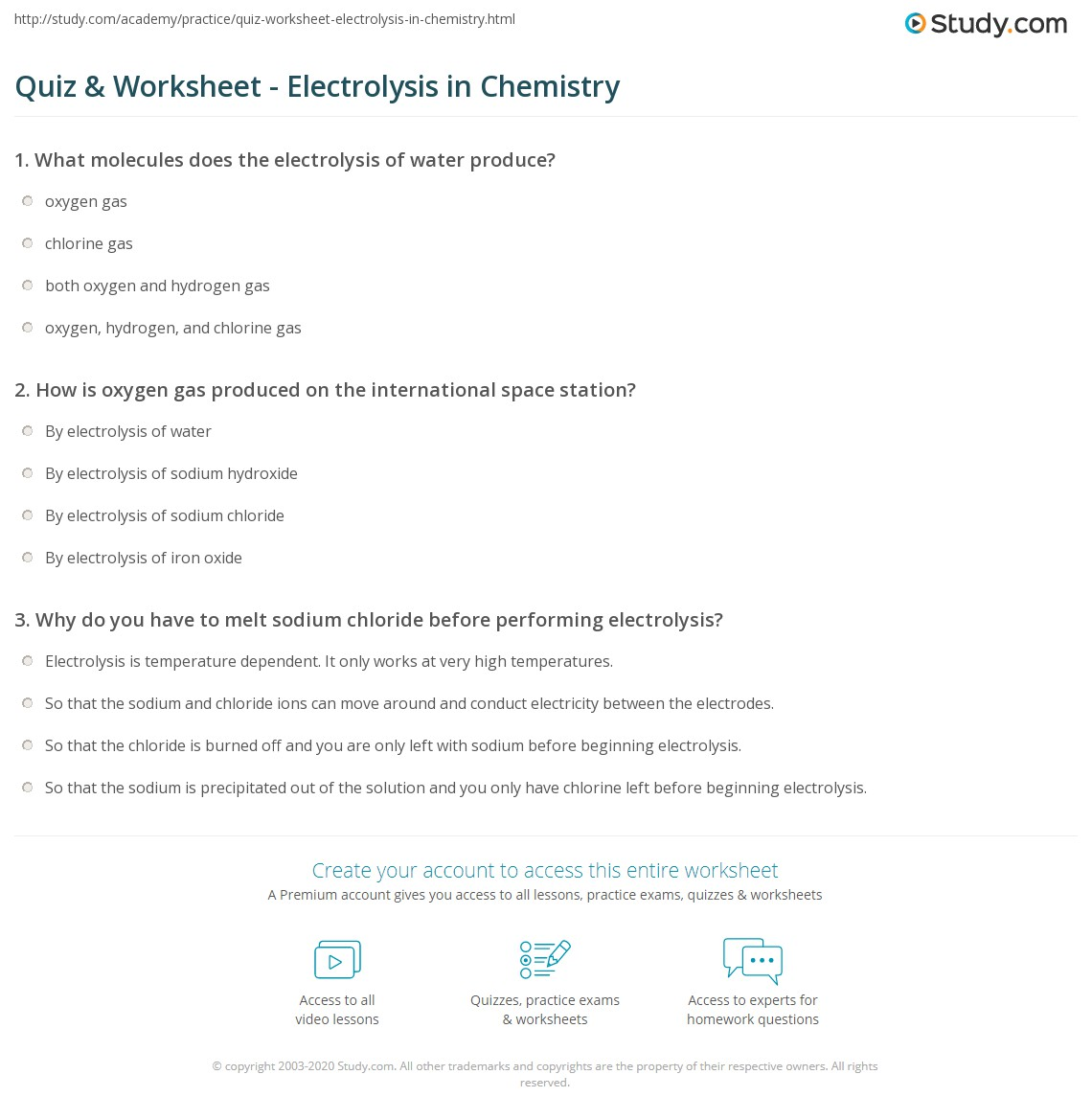 Worksheets Printable Chemistry Worksheets quiz worksheet electrolysis in chemistry study com print definition types uses worksheet