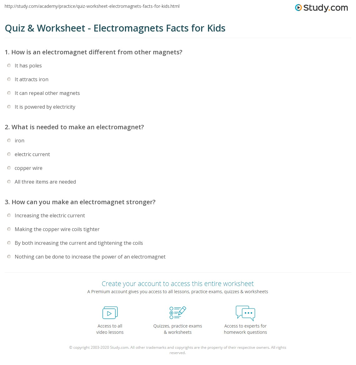 Quiz Worksheet Electromagnets Facts For Kids Study