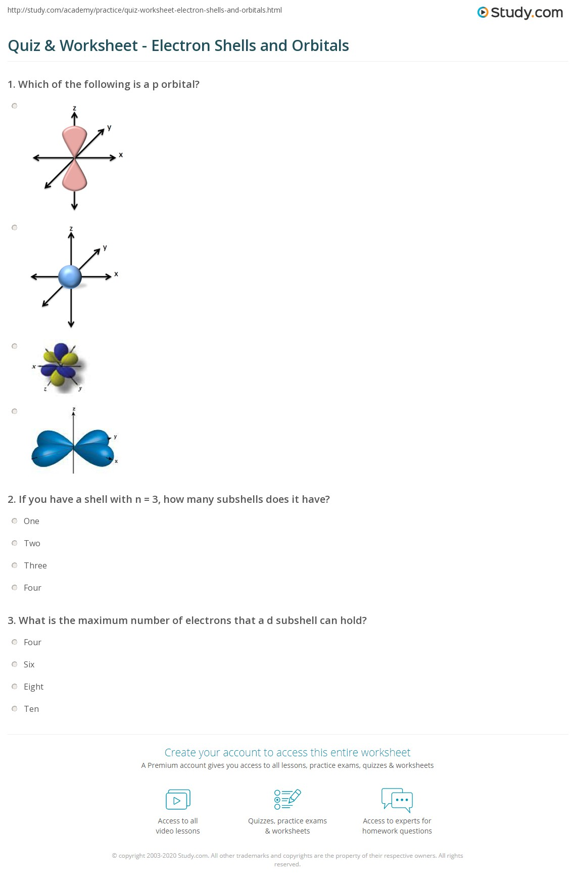 Atomic orbitals and electron configurations worksheet answers
