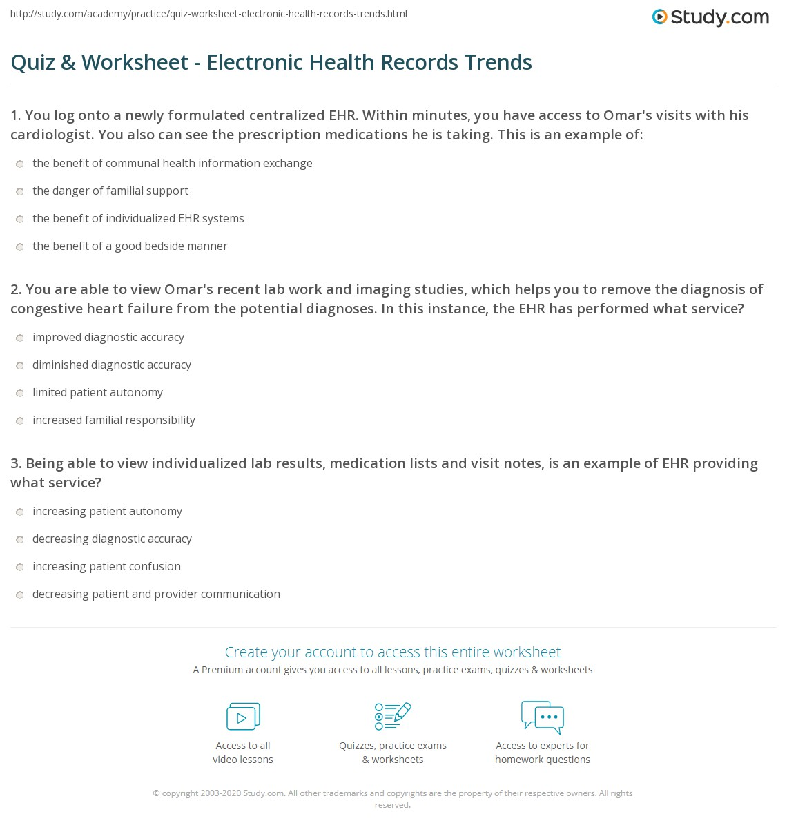 Quiz & Worksheet - Electronic Health Records Trends  Study.com