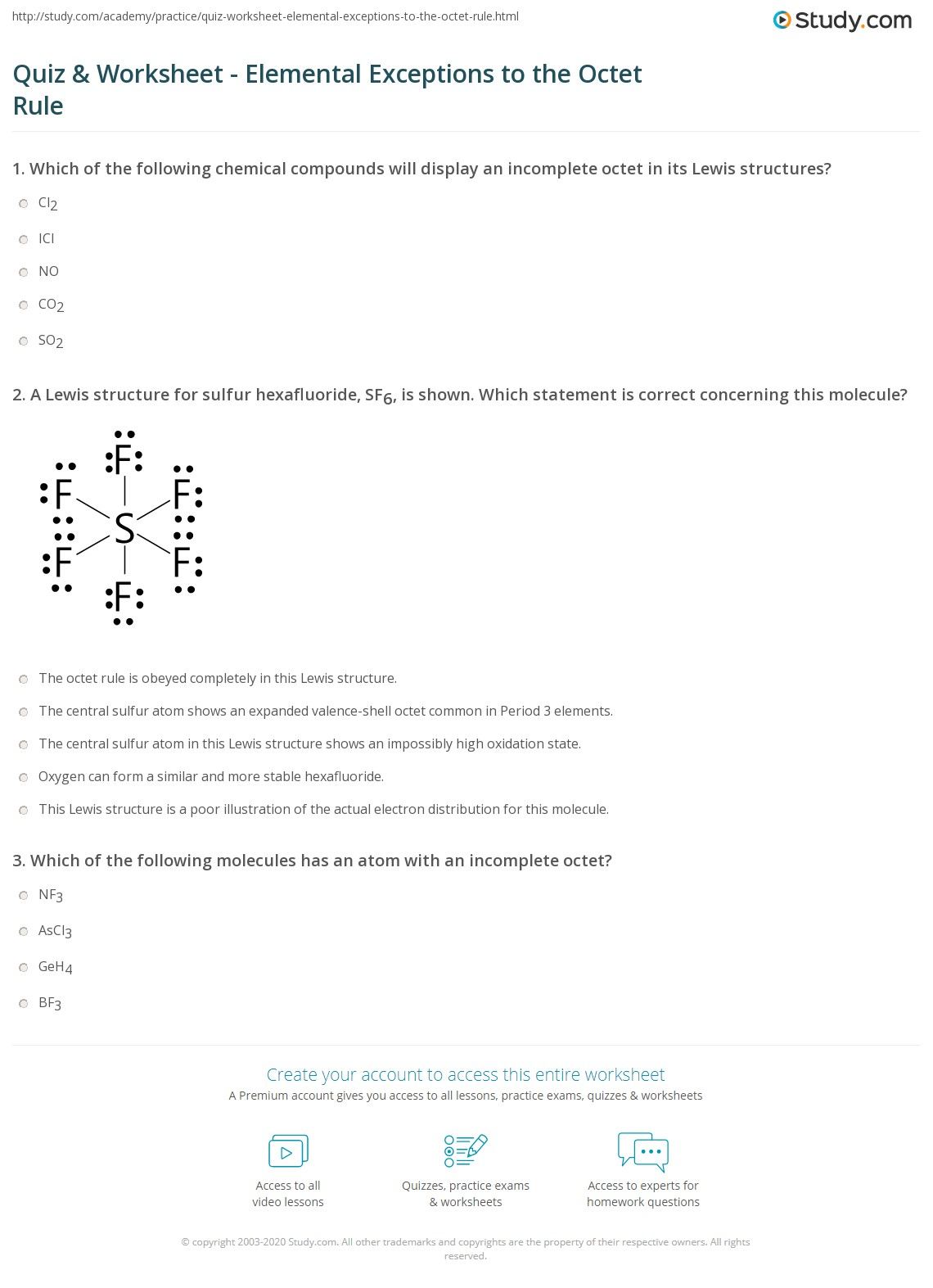 Quiz & Worksheet - Elemental Exceptions to the Octet Rule  Study.com Intended For Lewis Structure Practice Worksheet