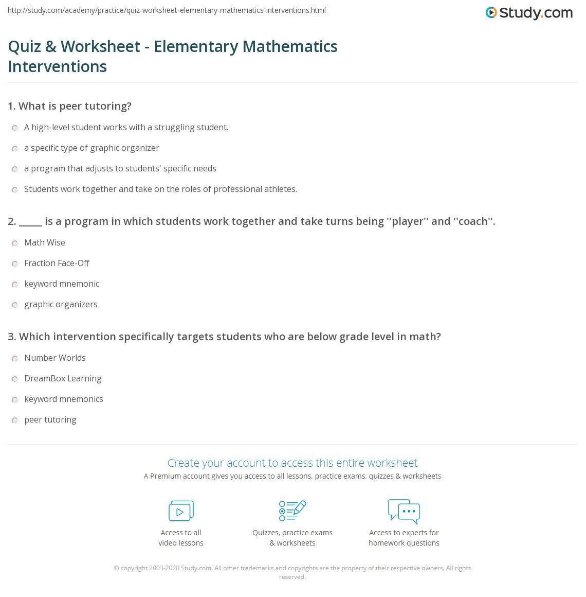 Worksheets Math Intervention Worksheets quiz worksheet elementary mathematics interventions study com print math intervention strategies for students worksheet