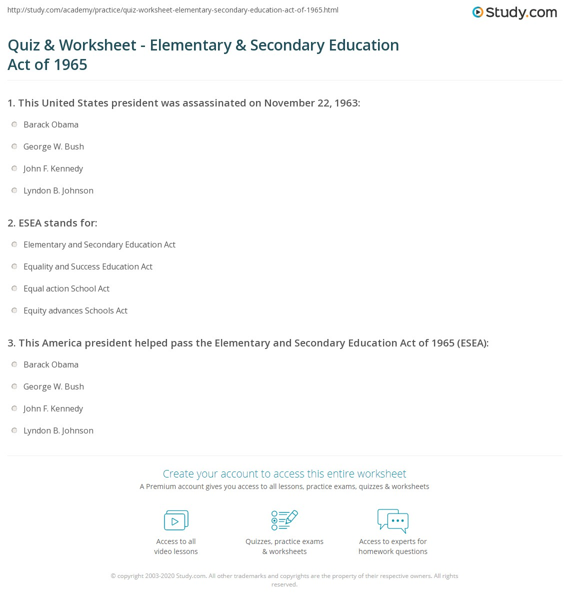 Quiz & Worksheet - Elementary & Secondary Education Act of 1965 ...