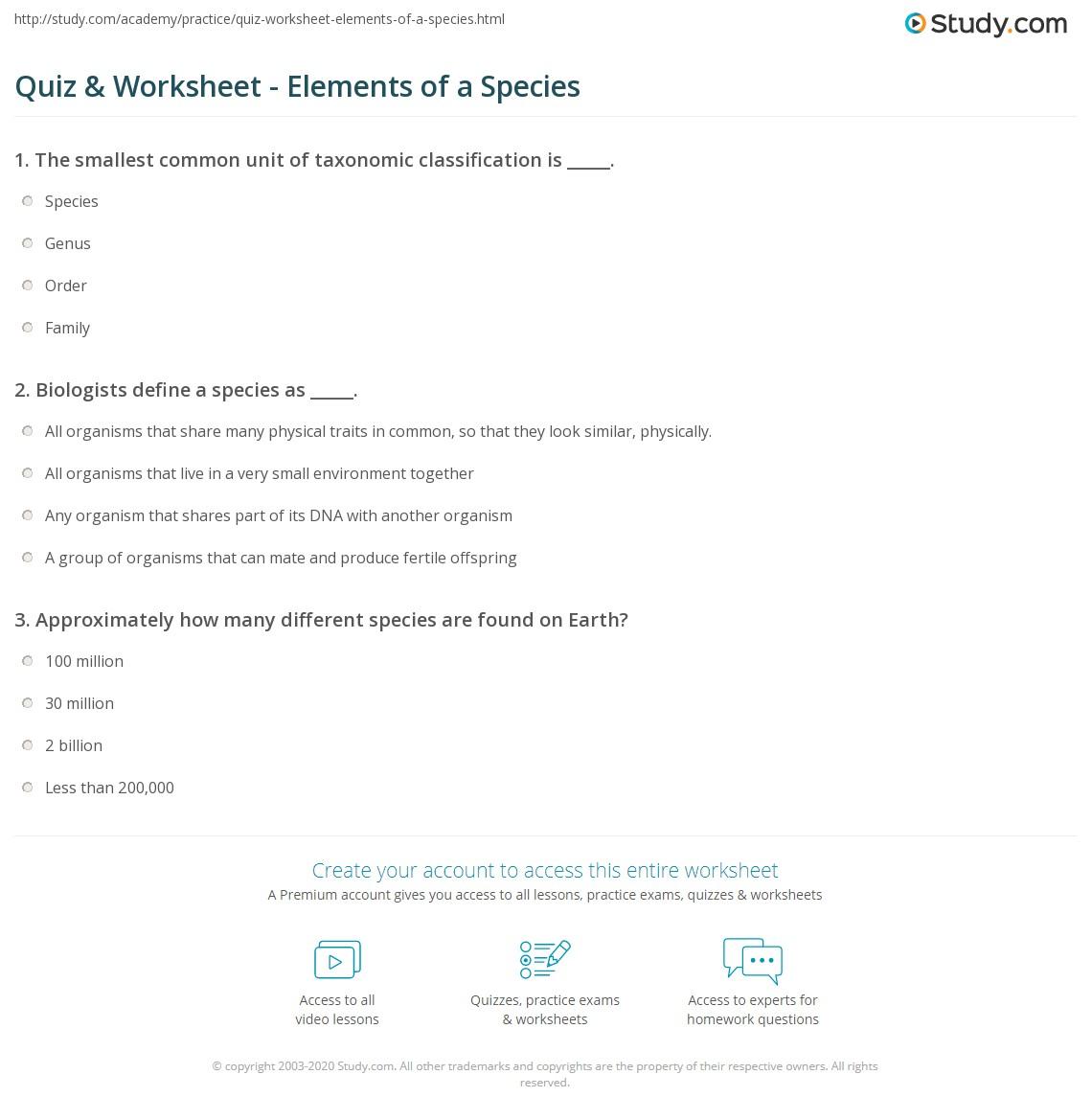 Quiz & Worksheet - Elements of a Species   Study.com