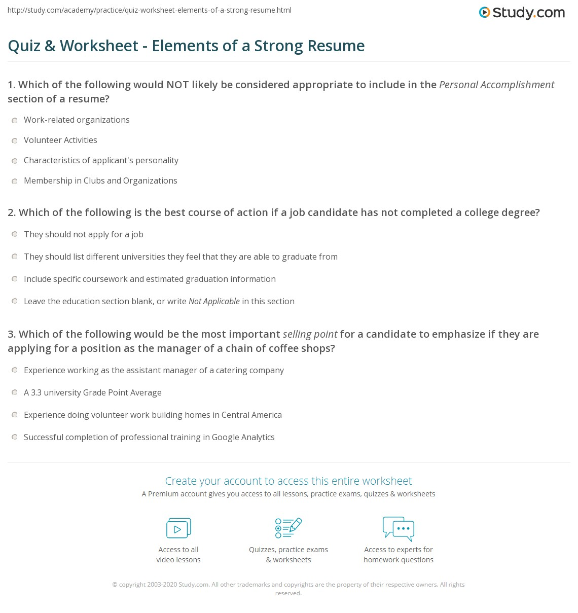 quiz worksheet elements of a strong resume study com