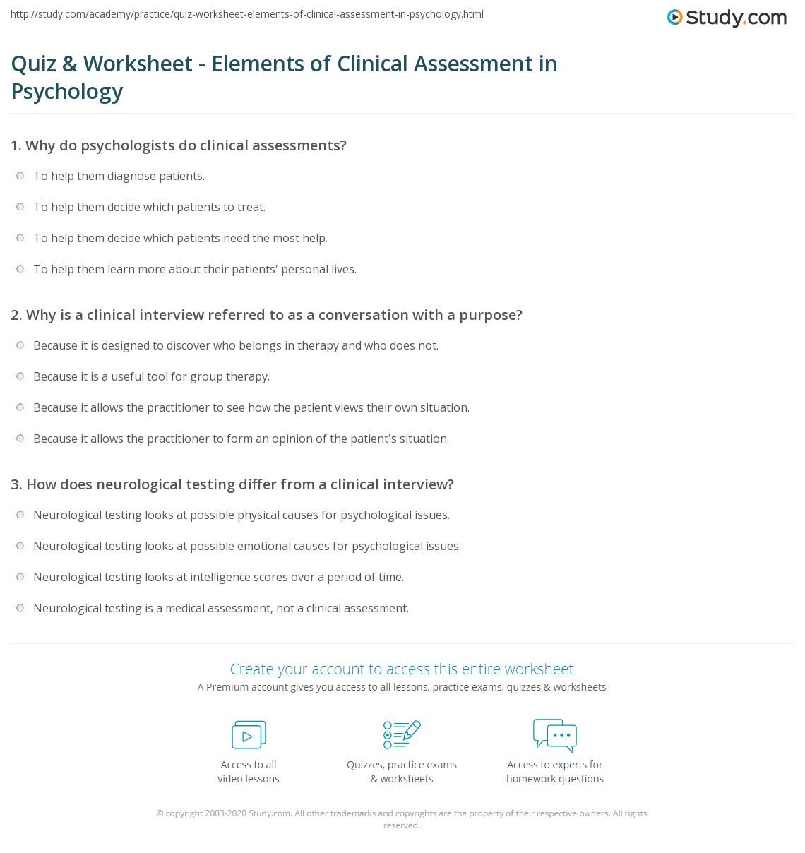 quiz & worksheet - elements of clinical assessment in psychology