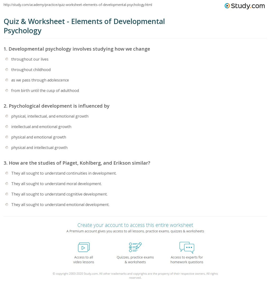 Workbooks psychology worksheets : Quiz & Worksheet - Elements of Developmental Psychology | Study.com