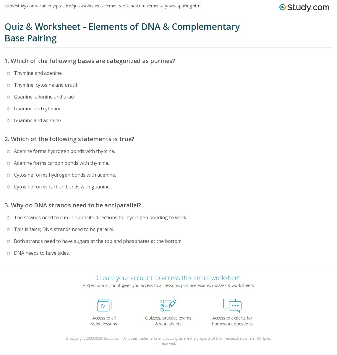 Quiz & Worksheet - Elements of DNA & Complementary Base ...