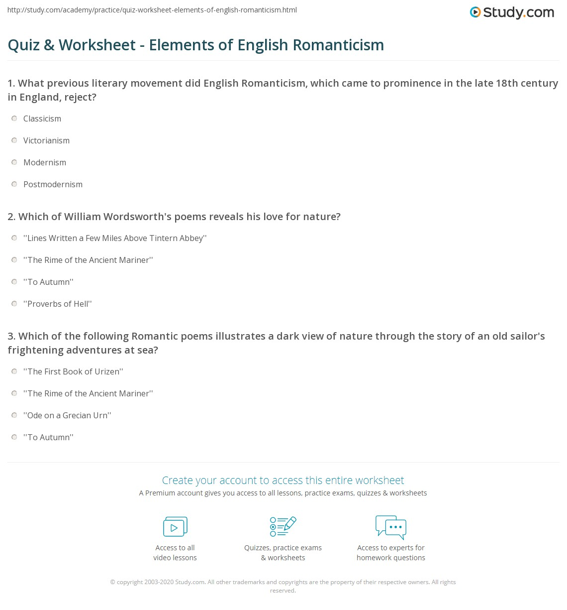 Print English Romanticism Characteristics Worksheet