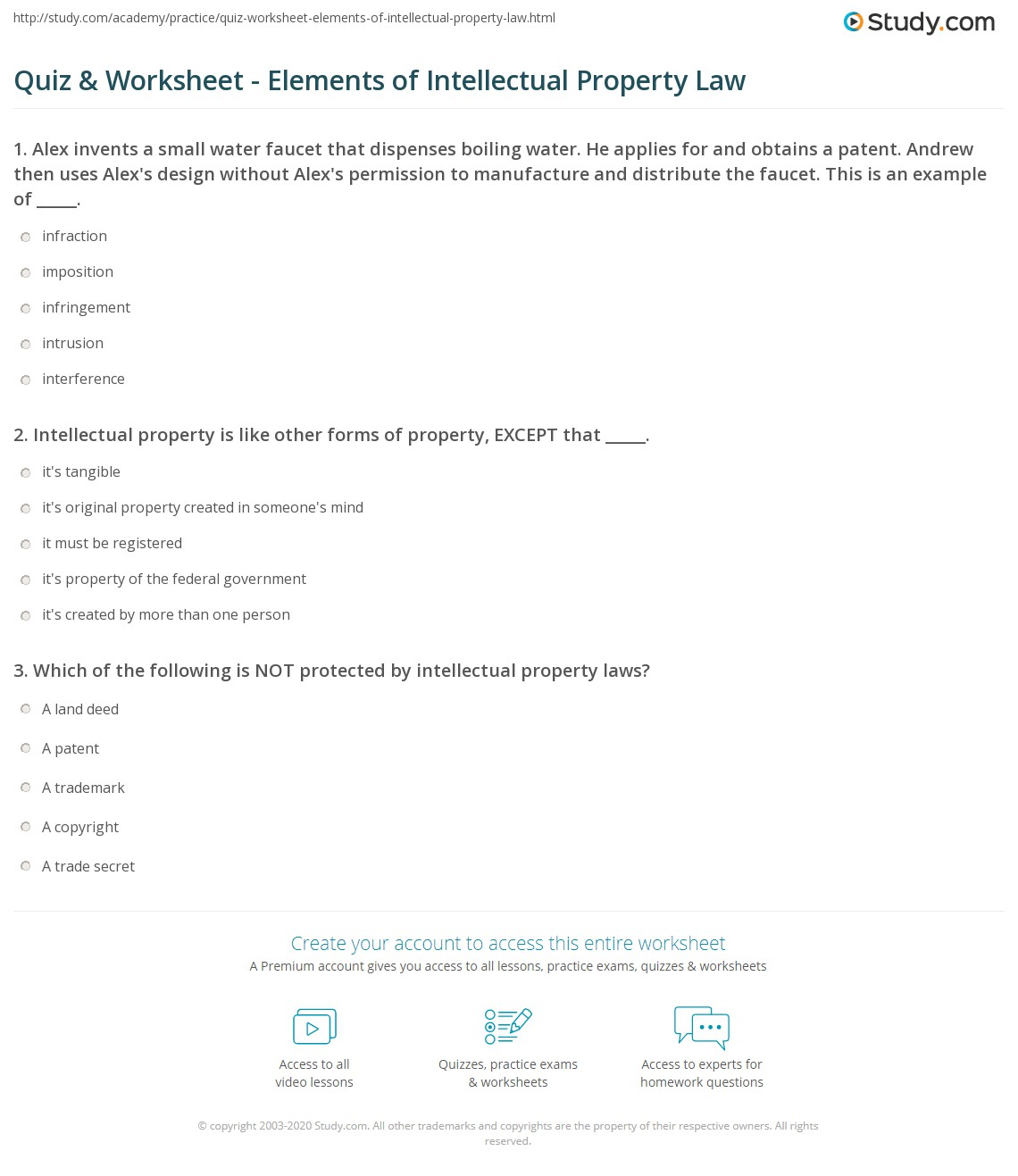 quiz & worksheet - elements of intellectual property law | study