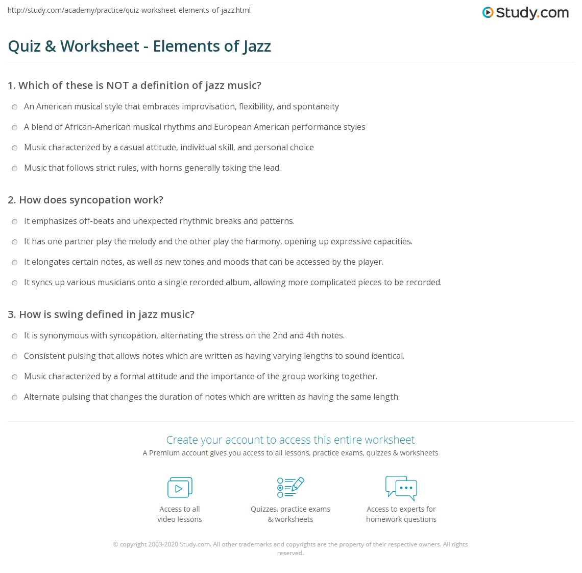 Quiz & Worksheet - Elements of Jazz | Study com