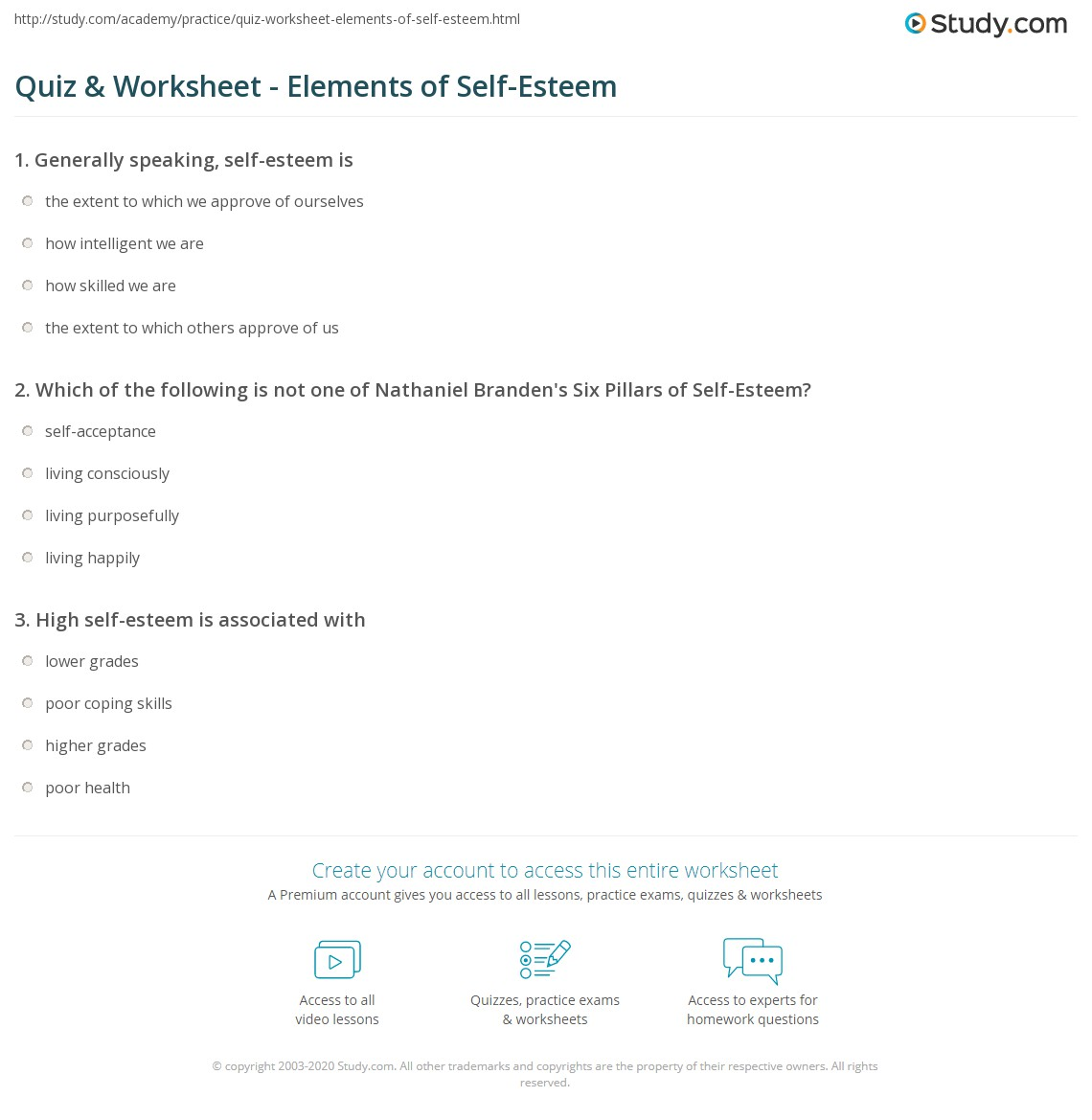 Worksheets Self Esteem Worksheet quiz worksheet elements of self esteem study com print what is definition six pillars issues worksheet