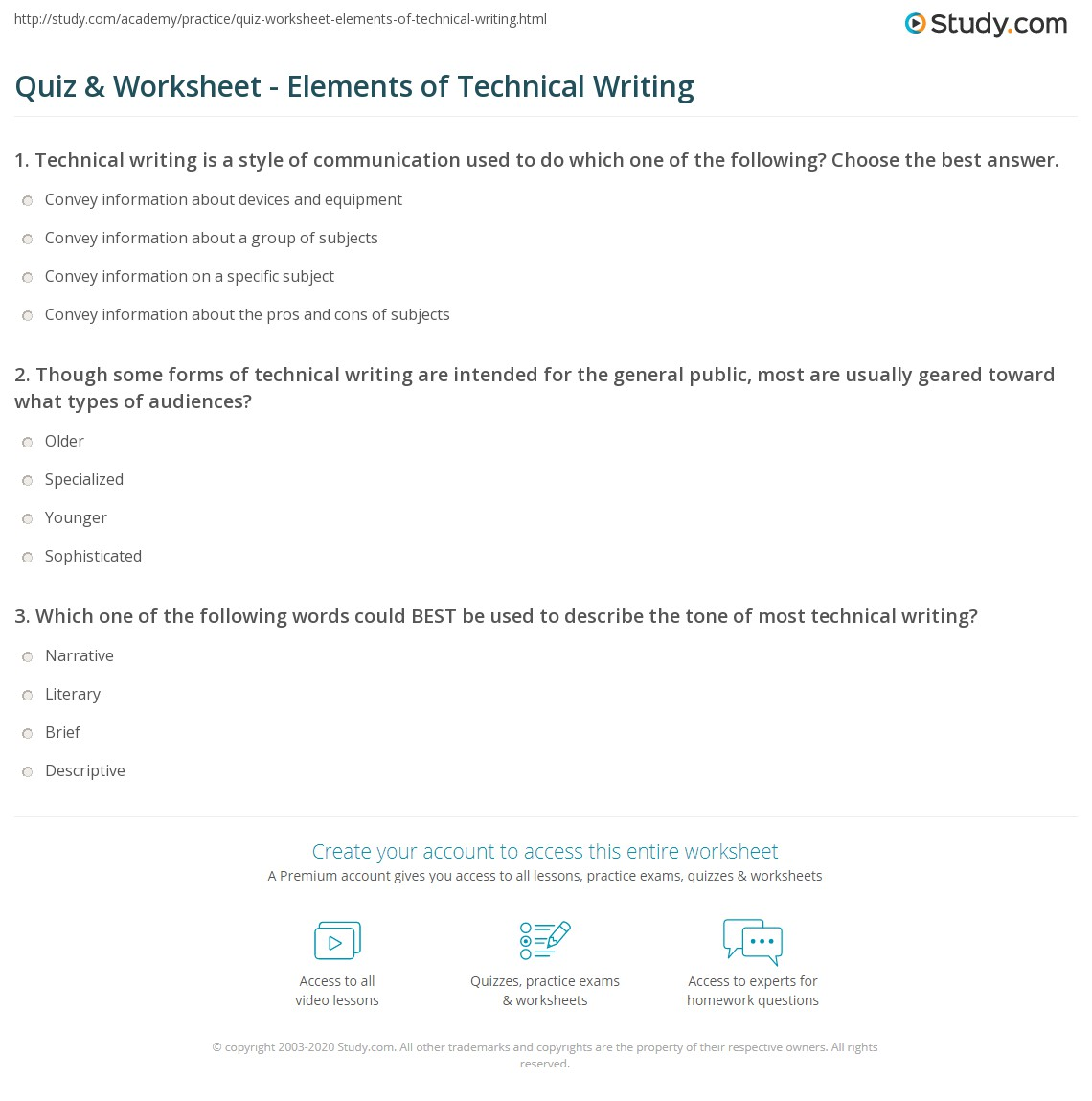 Quiz Worksheet Elements Of Technical Writing Study