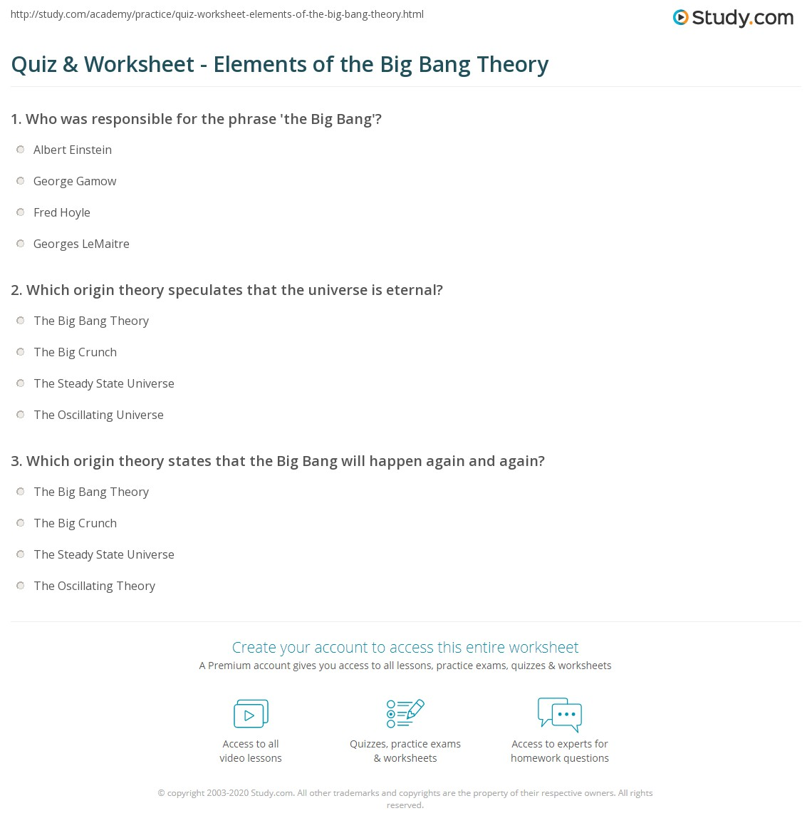 quiz worksheet elements of the big bang theory. Black Bedroom Furniture Sets. Home Design Ideas