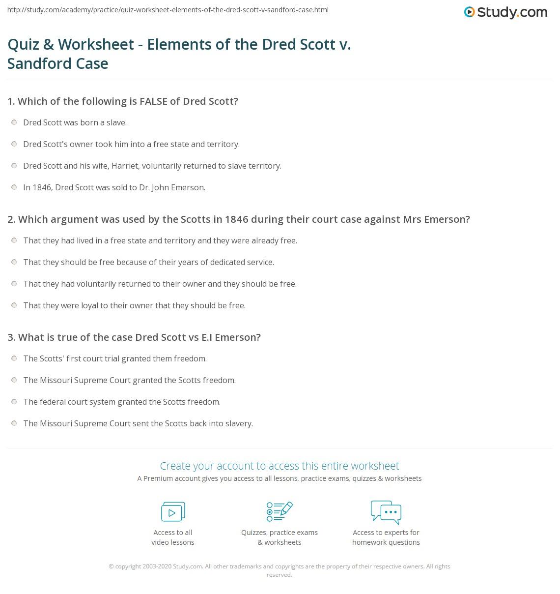 Quiz & Worksheet Elements of the Dred Scott v Sandford Case