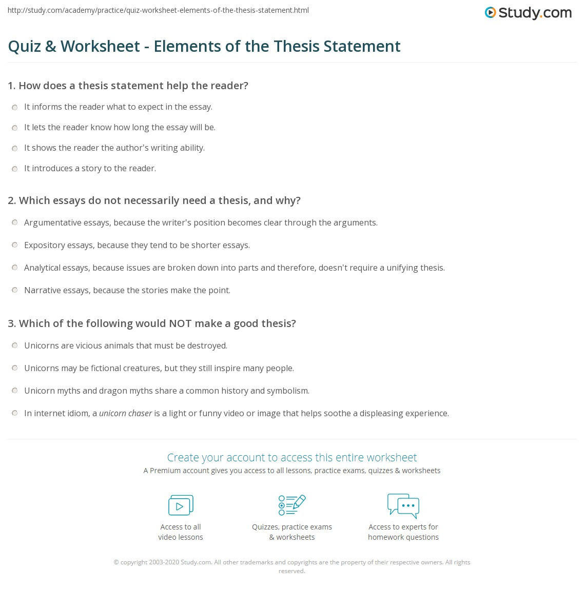 Quiz & Worksheet - Elements of the Thesis Statement | Study.com