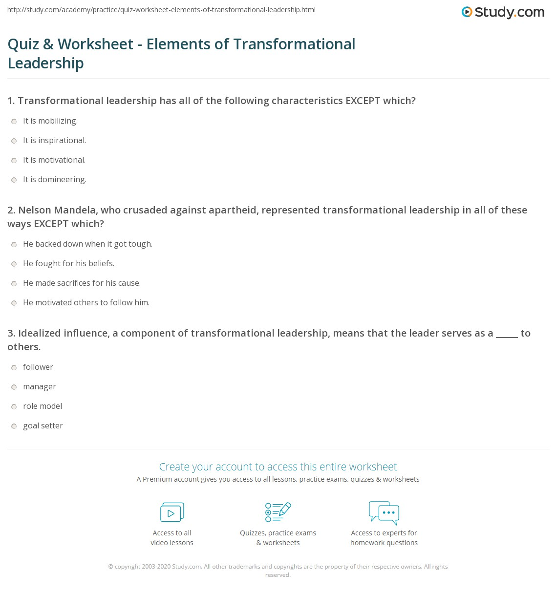 quiz & worksheet - elements of transformational leadership | study