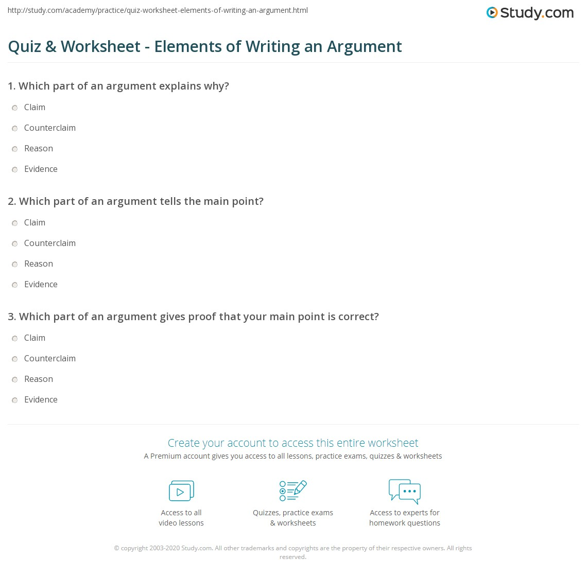 quiz worksheet elements of writing an argument. Black Bedroom Furniture Sets. Home Design Ideas