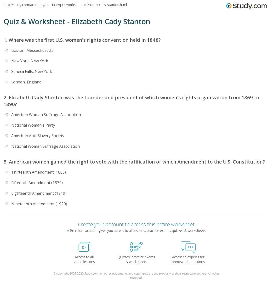 quiz worksheet elizabeth cady stanton. Black Bedroom Furniture Sets. Home Design Ideas