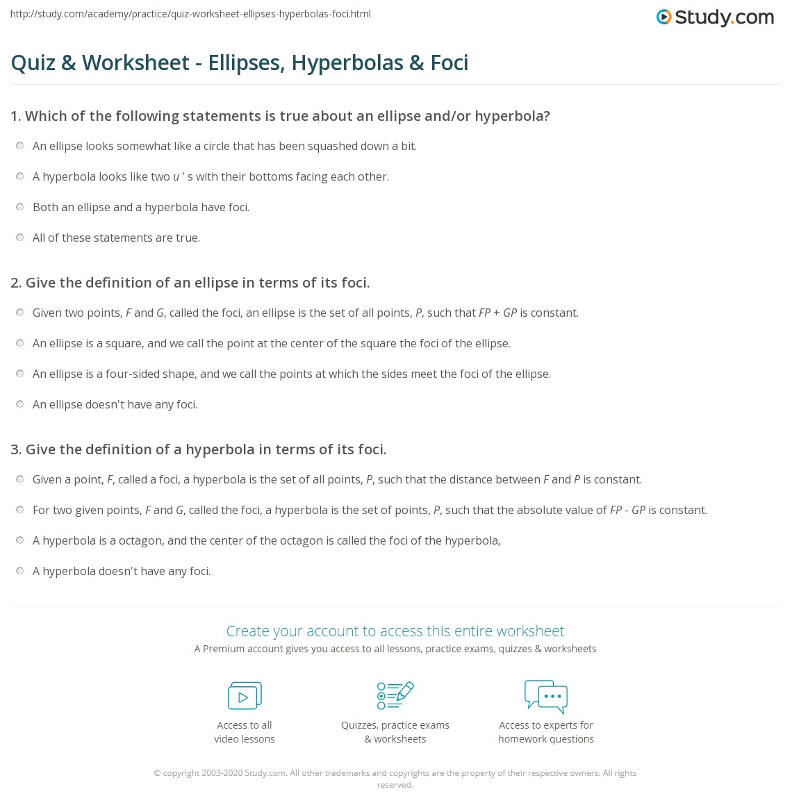 Quiz Worksheet Ellipses Hyperbolas Foci Study Com