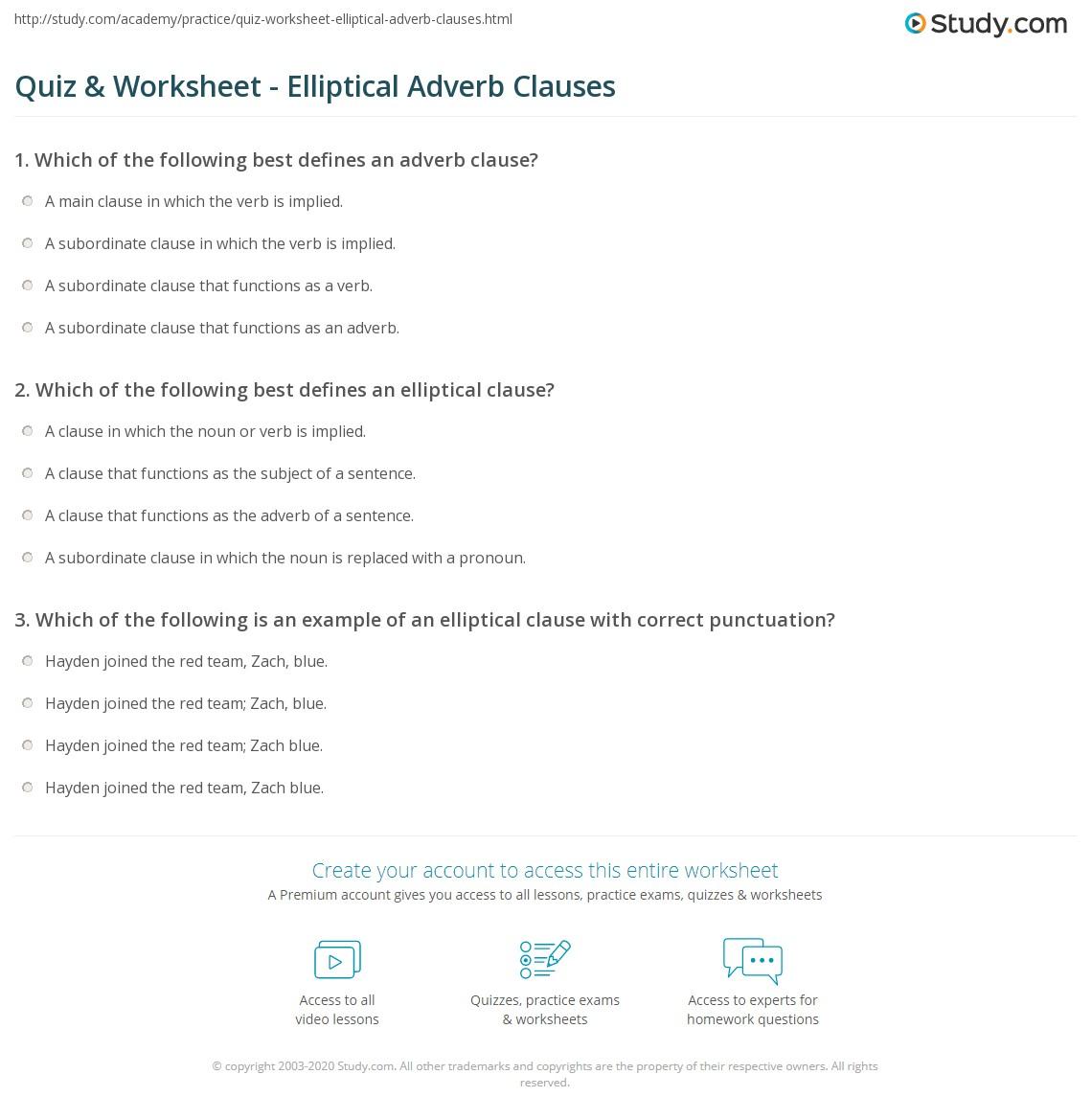 Quiz Worksheet Elliptical Adverb Clauses Study