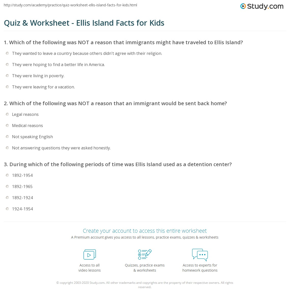 Quiz & Worksheet - Ellis Island Facts for Kids | Study.com