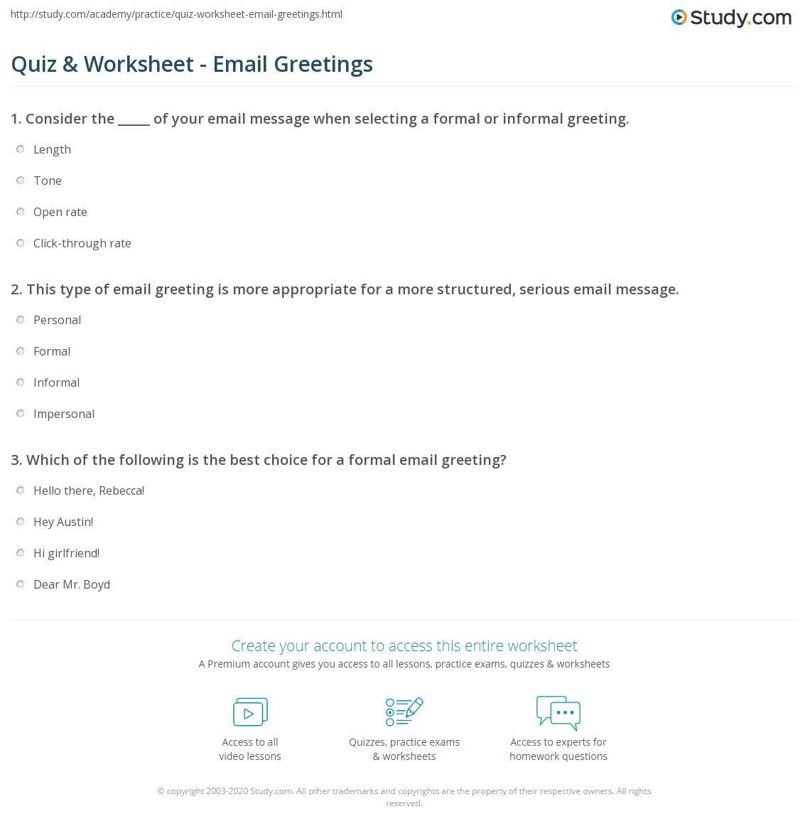 Quiz worksheet email greetings study print email greeting examples formal informal worksheet m4hsunfo