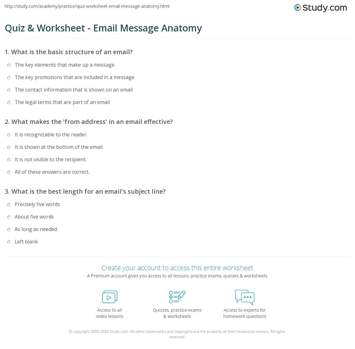 Quiz Worksheet Email Message Anatomy Study