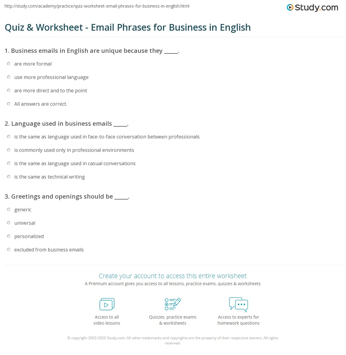 Quiz worksheet email phrases for business in english study language used in business emails m4hsunfo
