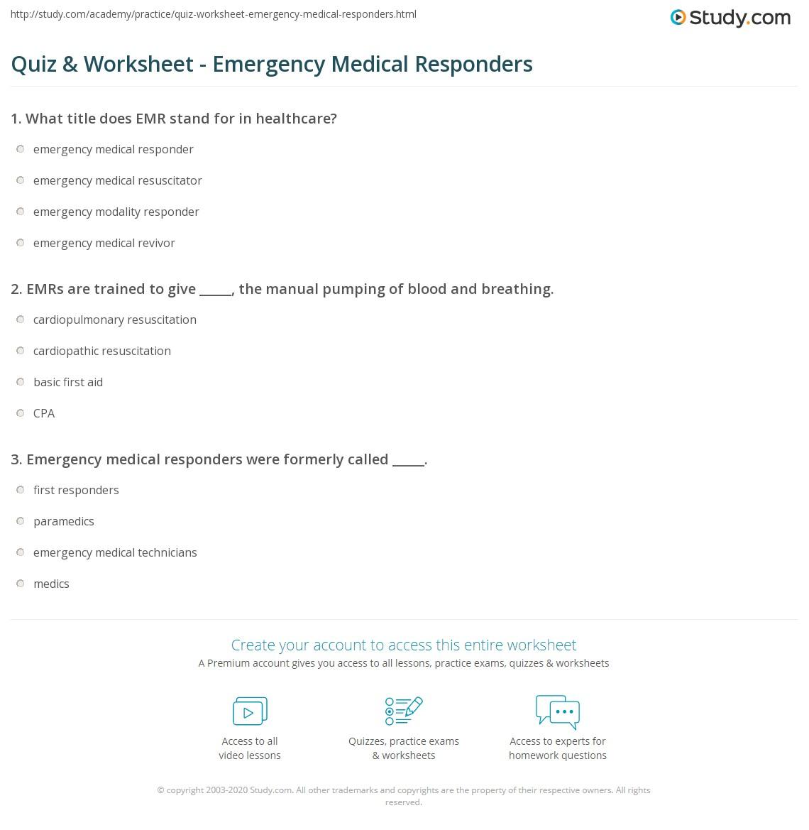 Quiz Worksheet Emergency Medical Responders – Mini Mental Status Exam Worksheet