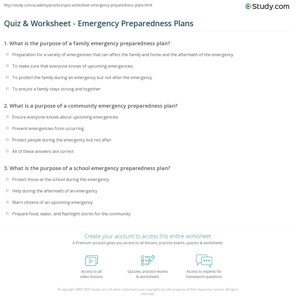 worksheet Emergency Preparedness Worksheet quiz worksheet emergency preparedness plans study com print purpose function worksheet