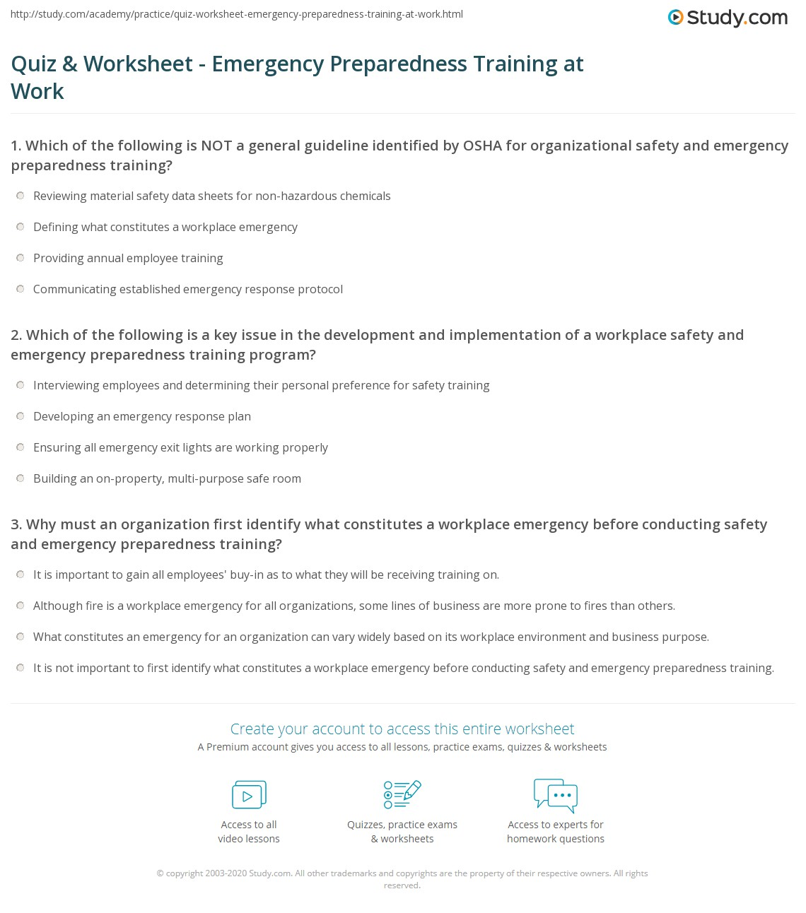 Quiz worksheet emergency preparedness training at work study which of the following is a key issue in the development and implementation of a workplace safety and emergency preparedness training program 1betcityfo Images