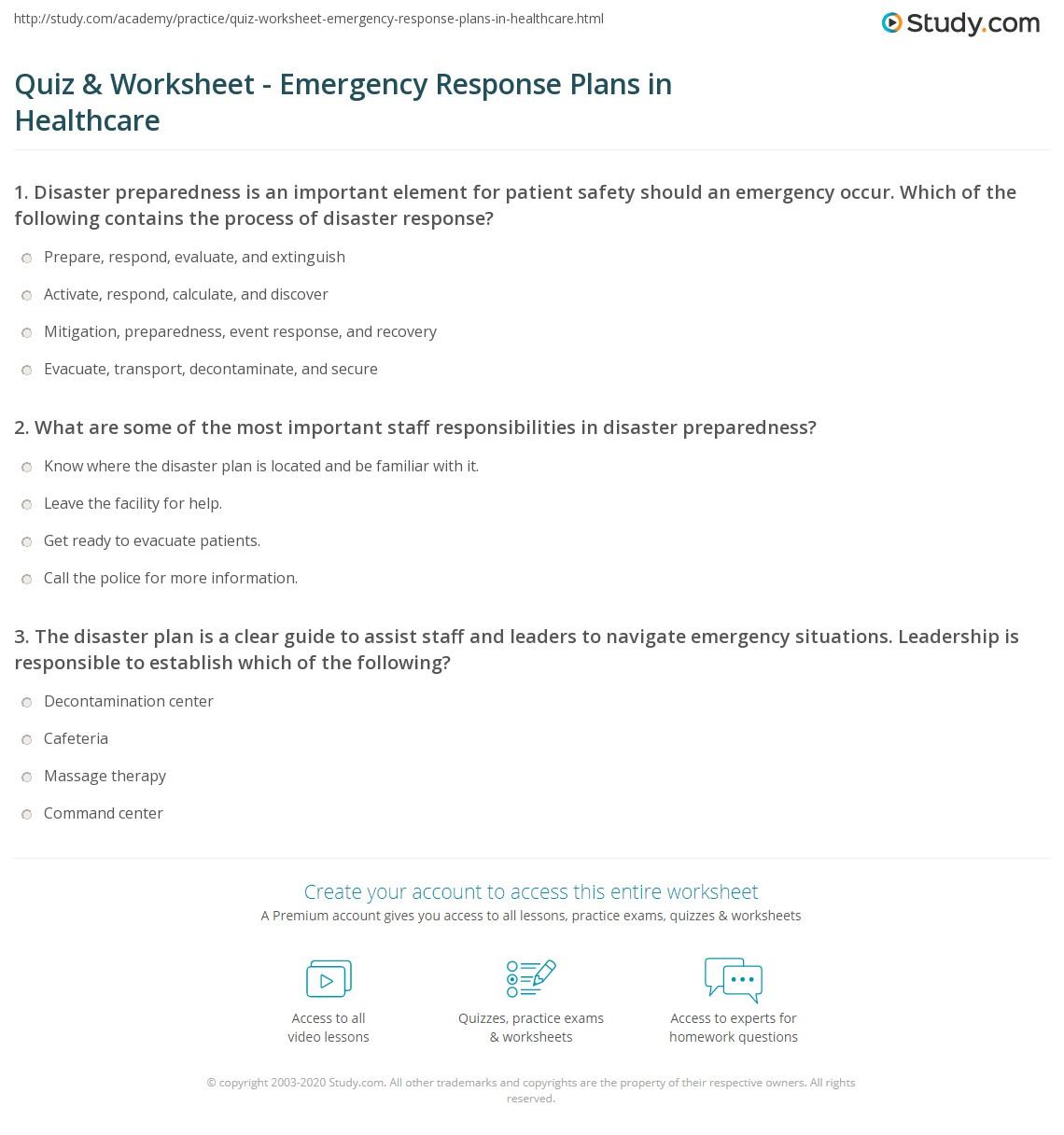 Quiz & Worksheet - Emergency Response Plans in Healthcare