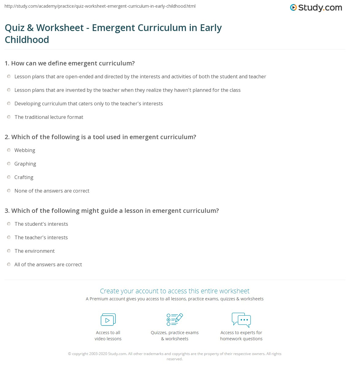 Print What Is Emergent Curriculum In Early Childhood? Worksheet