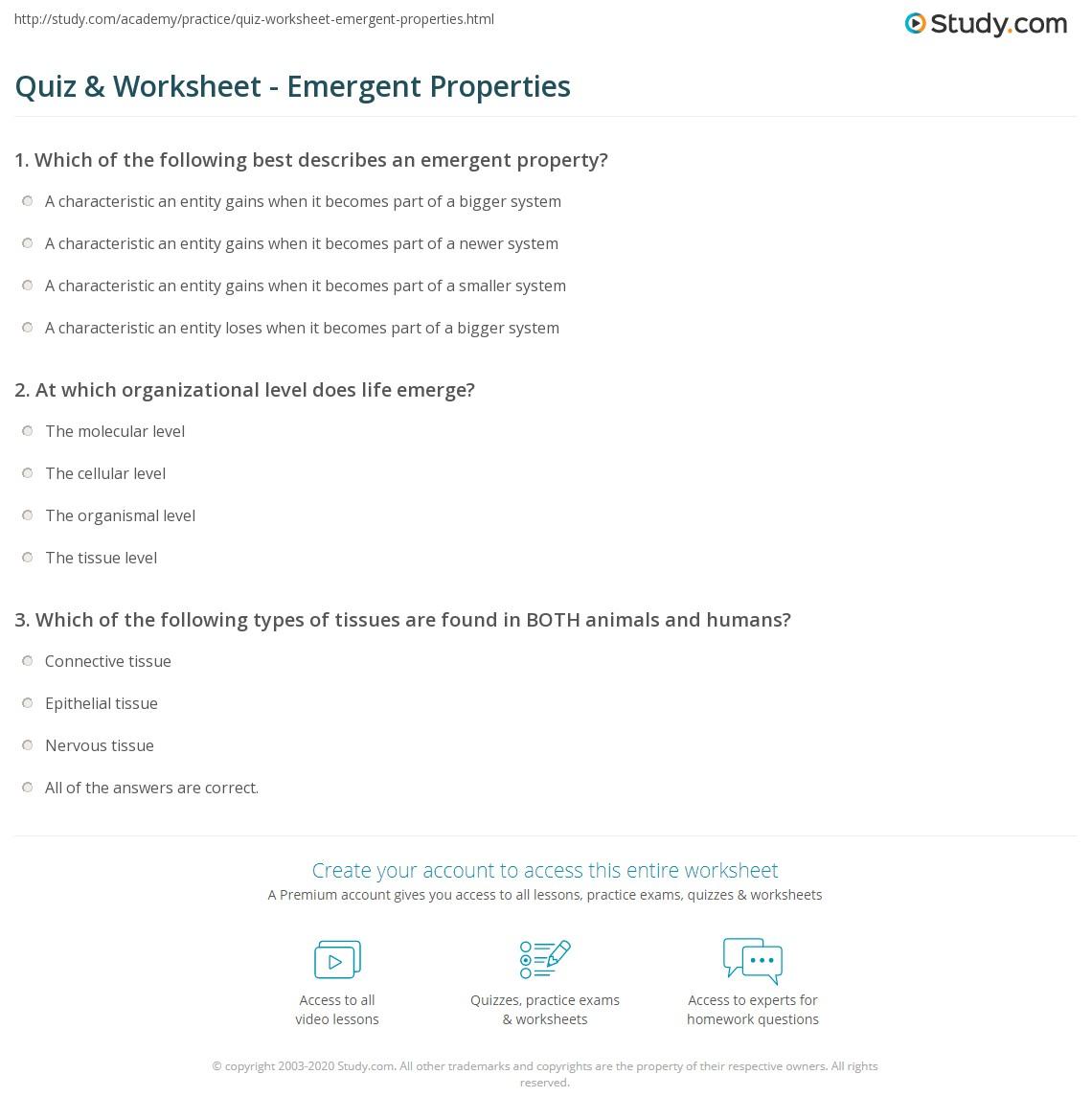 Print Emergent Properties: Definition U0026 Examples Worksheet