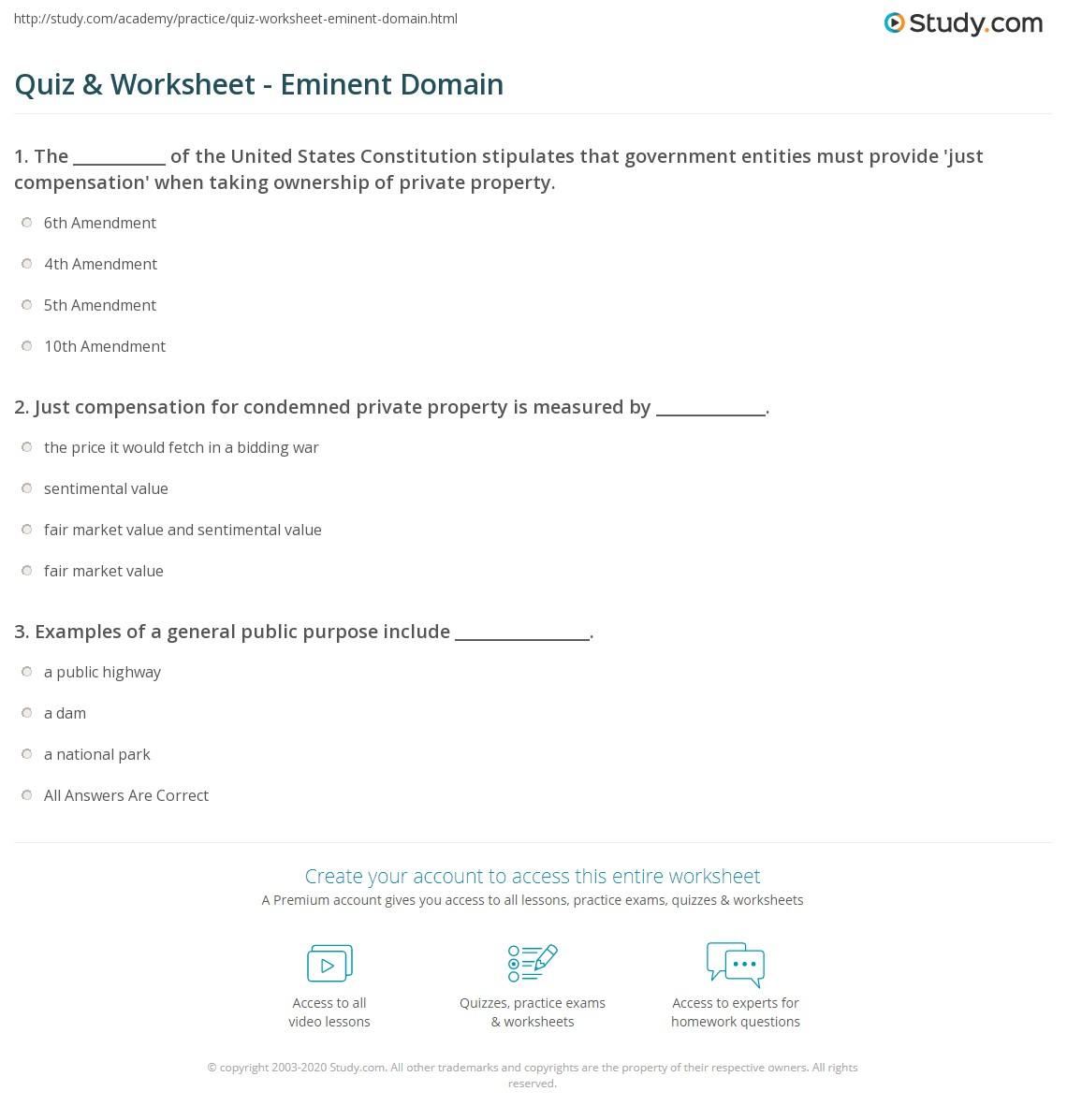 quiz & worksheet - eminent domain | study