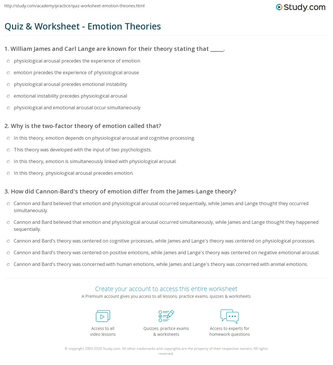 worksheet Emotions Worksheet quiz worksheet emotion theories study com print of worksheet