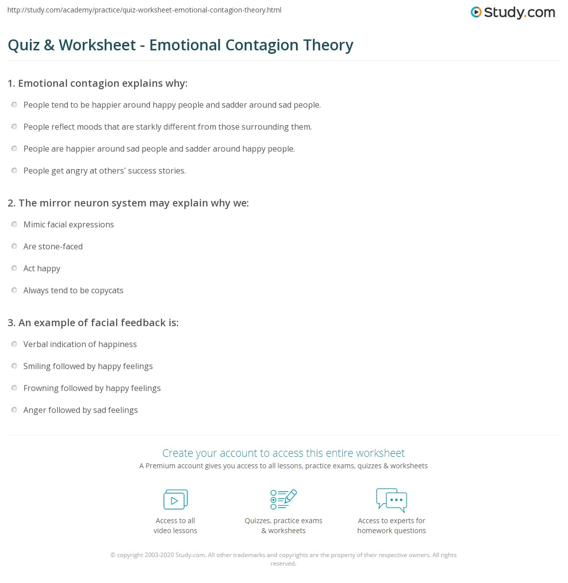 Quiz Worksheet Emotional Contagion Theory Study