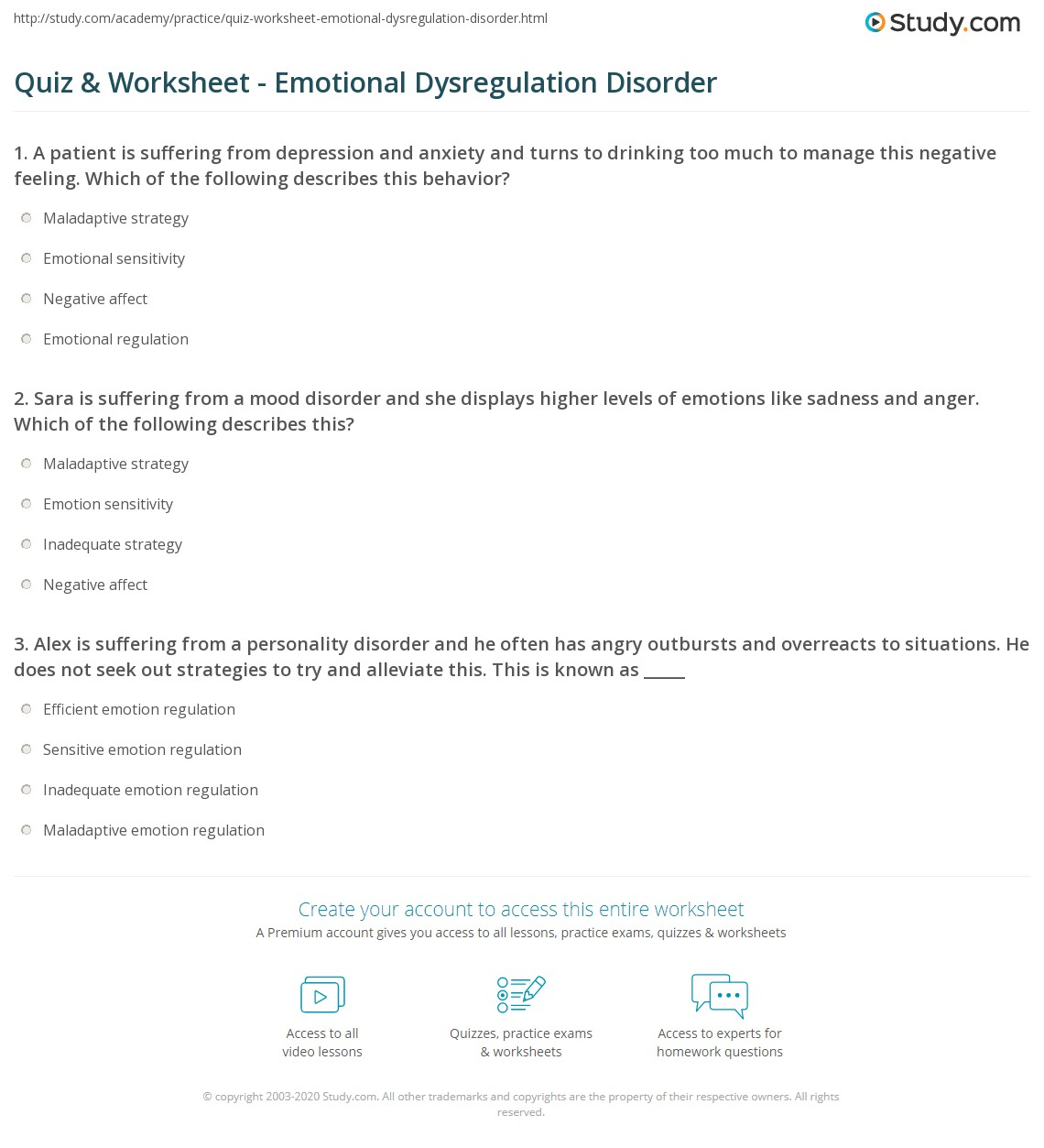 worksheet Emotional Regulation Worksheets quiz worksheet emotional dysregulation disorder study com print worksheet