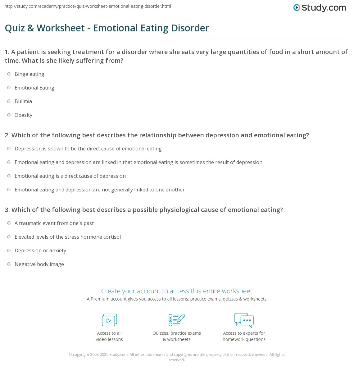 Quiz & Worksheet - Emotional Eating Disorder | Study.com