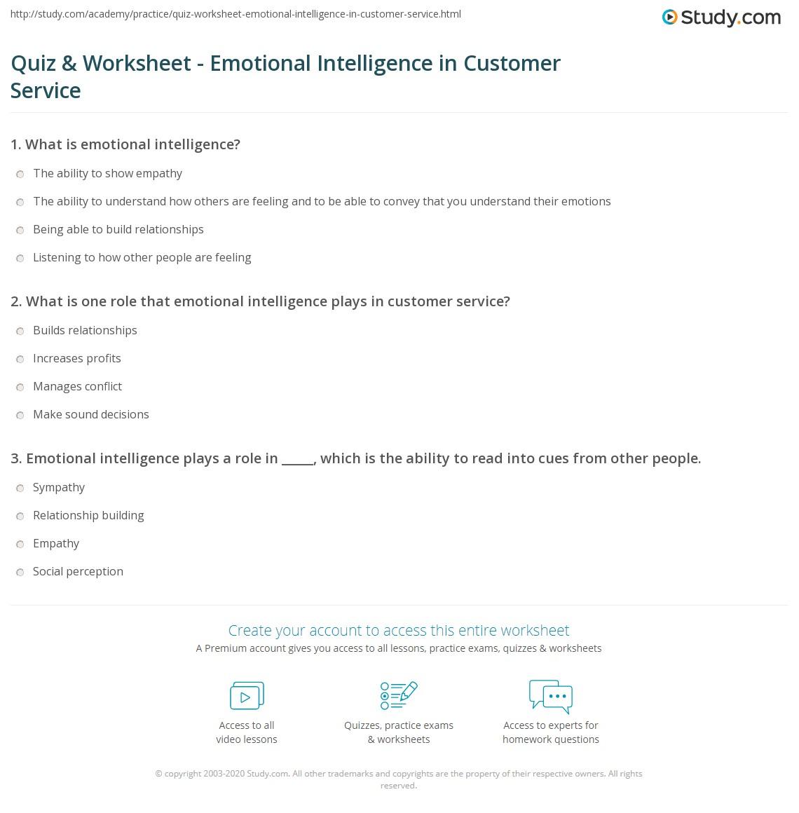 Quiz & Worksheet - Emotional Intelligence in Customer Service