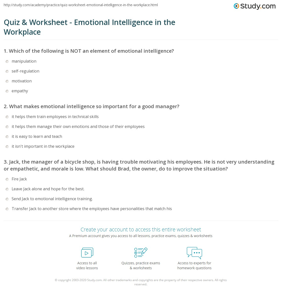 emotional intelligence in the workplace case study Application this unit covers the development and use of emotional intelligence to increase self-awareness, self-management, social awareness and relationship management in the context of the workplace.