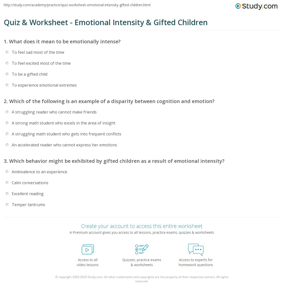 Quiz & Worksheet - Emotional Intensity & Gifted Children | Study.com