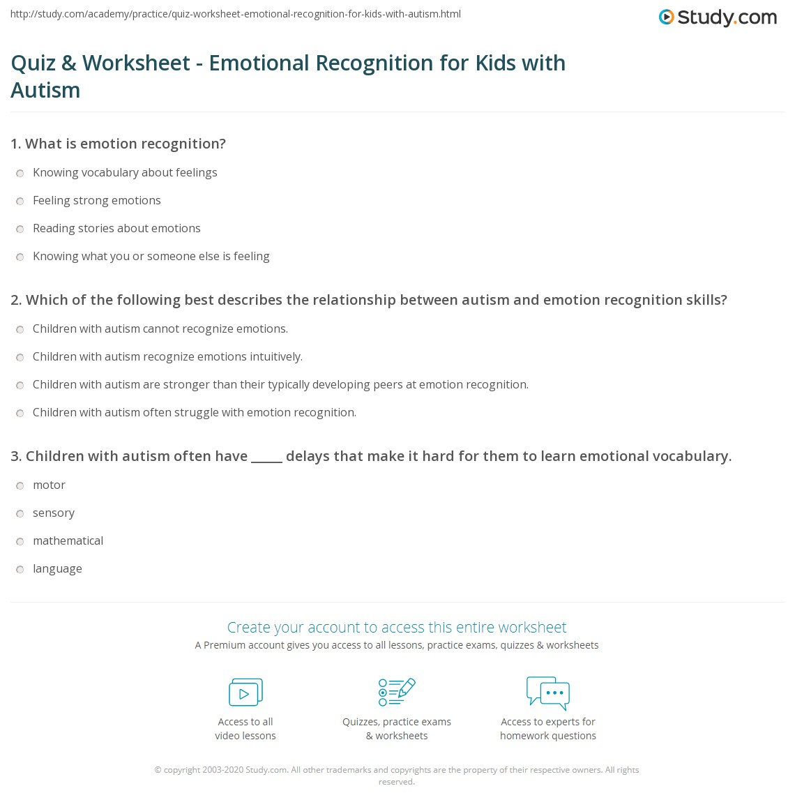 Quiz Worksheet Emotional Recognition For Kids With Autism