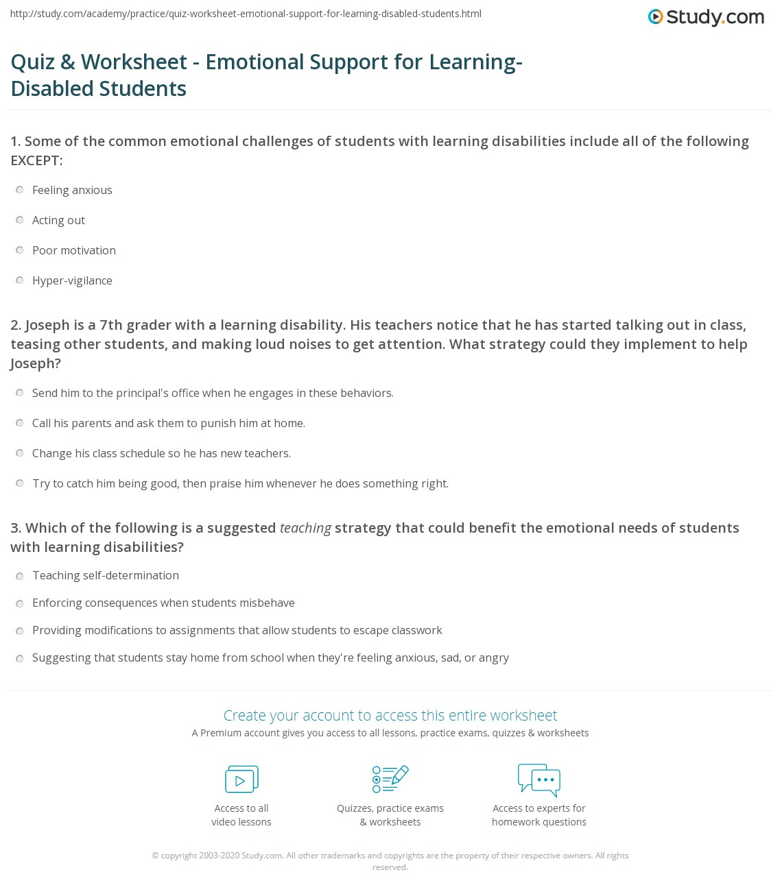 Quiz Worksheet Emotional Support For Learning Disabled Students