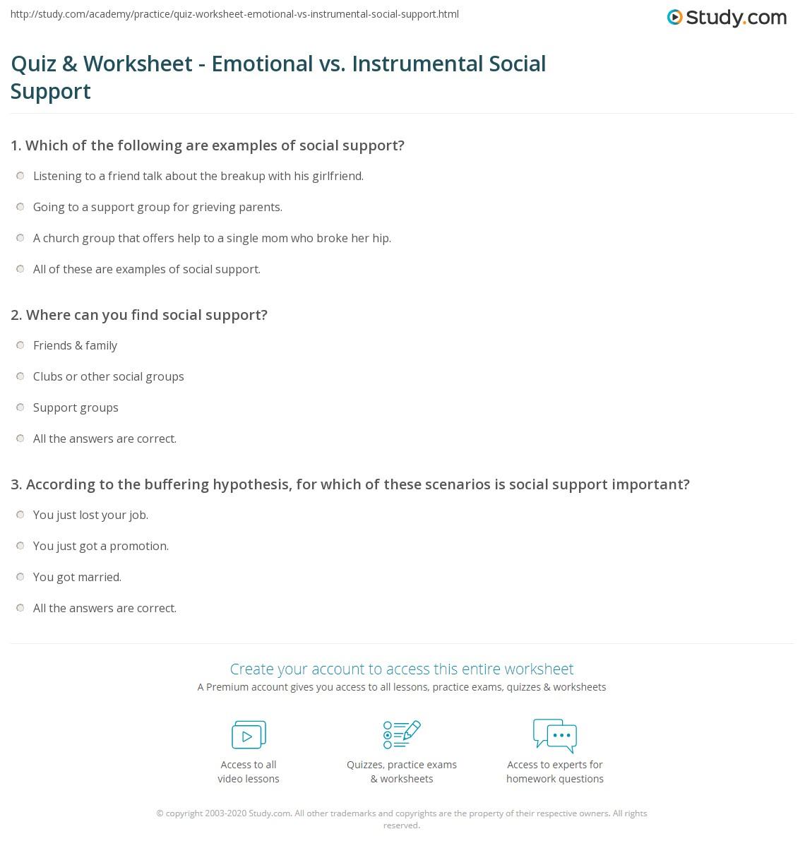 quiz worksheet emotional vs instrumental social support. Black Bedroom Furniture Sets. Home Design Ideas